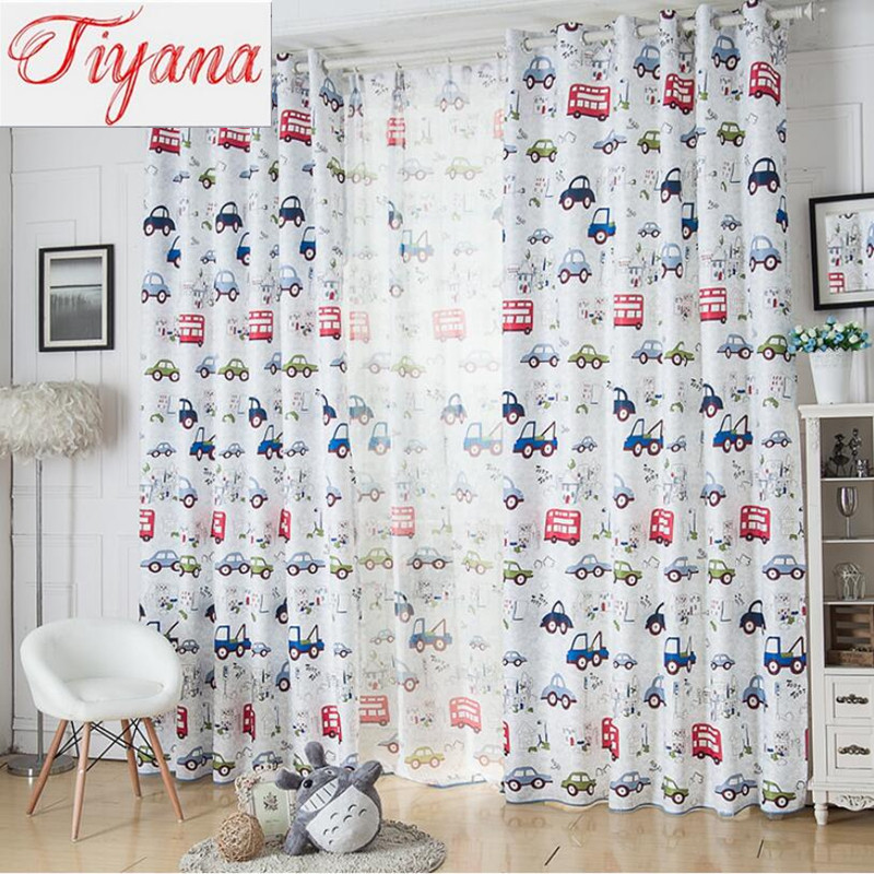 Cartoon car pattern shade cloth home design children boy for Accessoires decoration pour rideaux