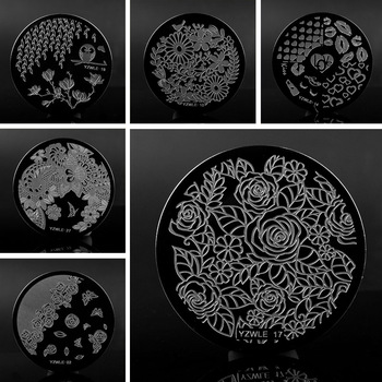 YZWLE 1 Pc 30 Designs Available YZWLE Stamping Plate Lace Negative Space Leaves Flowers Nail Art Template Tools Accessories