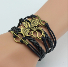 Game of Thrones Men Leather Bracelet Song of Ice and Fire Vintage Punk Antique Silver Dragon Charm for Women(China (Mainland))