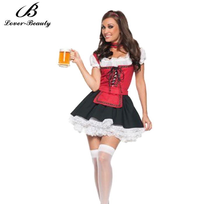 Sexy Halloween Carnival Cospay Fancy Waiter Costume Popular Girl Coffee Shop Costume French Maid Dress neck ring apron dress C40(China (Mainland))