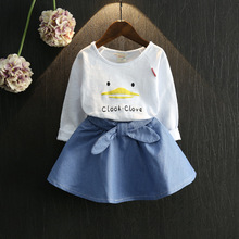 2016 summer Europe fashionable girls Cute Butterfly fly sleeve lace T-shirt skirt suit children holiday birthday gift(China (Mainland))