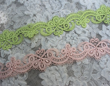 """Buy 3.8CM 1.5"""" Wide 6yards/lot High Fluorescent Green,Pink Venise Lace Trim,Water Soluble Lace Trim for $7.92 in AliExpress store"""