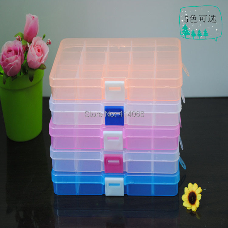 15 Grids Adjustable Jewelry Storage Case Box Craft Makeup Cosmetic Accessory Beads Candy Pills Organizer Organizador Container(China (Mainland))
