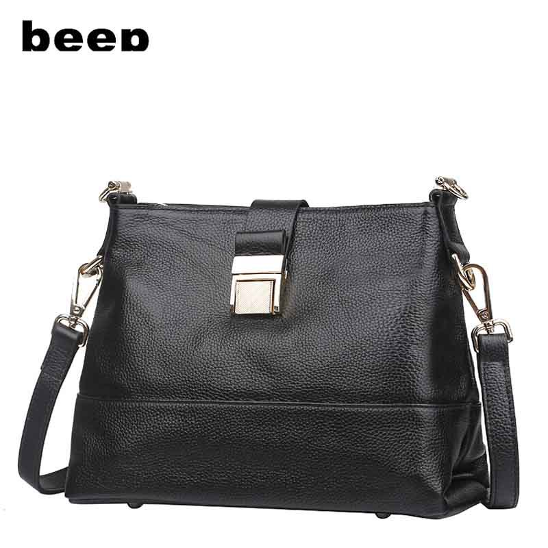 BEEP Famous Brand Women Bag Genuine Leather High Quality Fashion Handbags Solid Cover Women Messenger Bags Free Shipping<br><br>Aliexpress