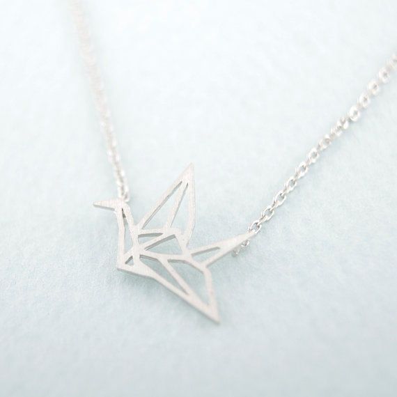 Gold Silver Origami Crane Necklace 1.jpg