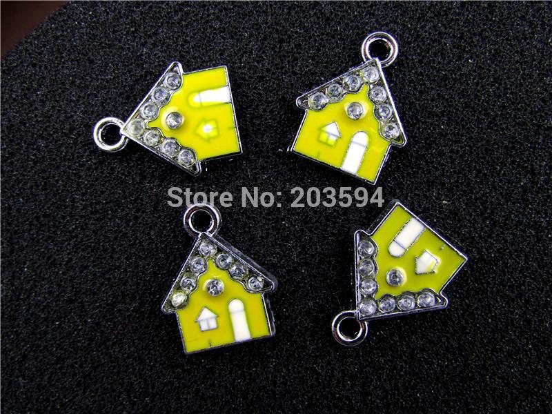 AE426 Mix Color 50Pcs Alloy Metal Enamel House Charms Pendants 20x16mm(China (Mainland))