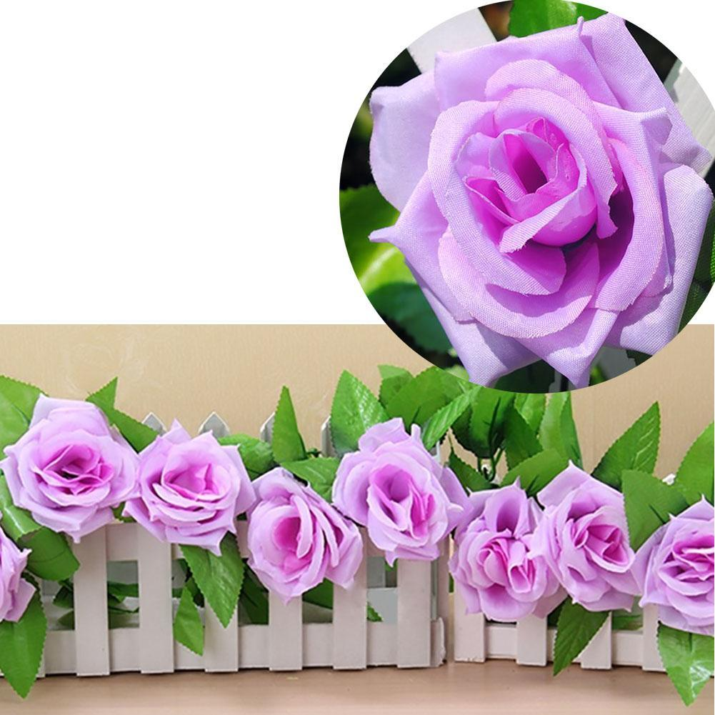 Artificial Rose Leaf Vine Wedding Arrangement Hanging Garland 2.45m Silk Flower Plant Ivy Home Garden Decor Festival Purple PML(China (Mainland))