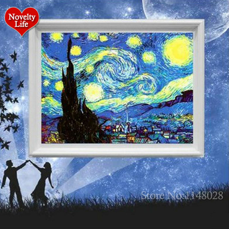 Van Gogh Picture Frame Painting By Numbers Star Sky Abstract Wall Art DIY Digital Canvas Oil Painting Home Decor Living Room Art(China (Mainland))