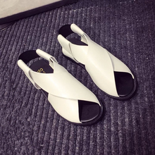 Famous Brand design Female Leather Sandals Women Flat Sandals Fashion Summer Outdoor work Slides Shoes black and white