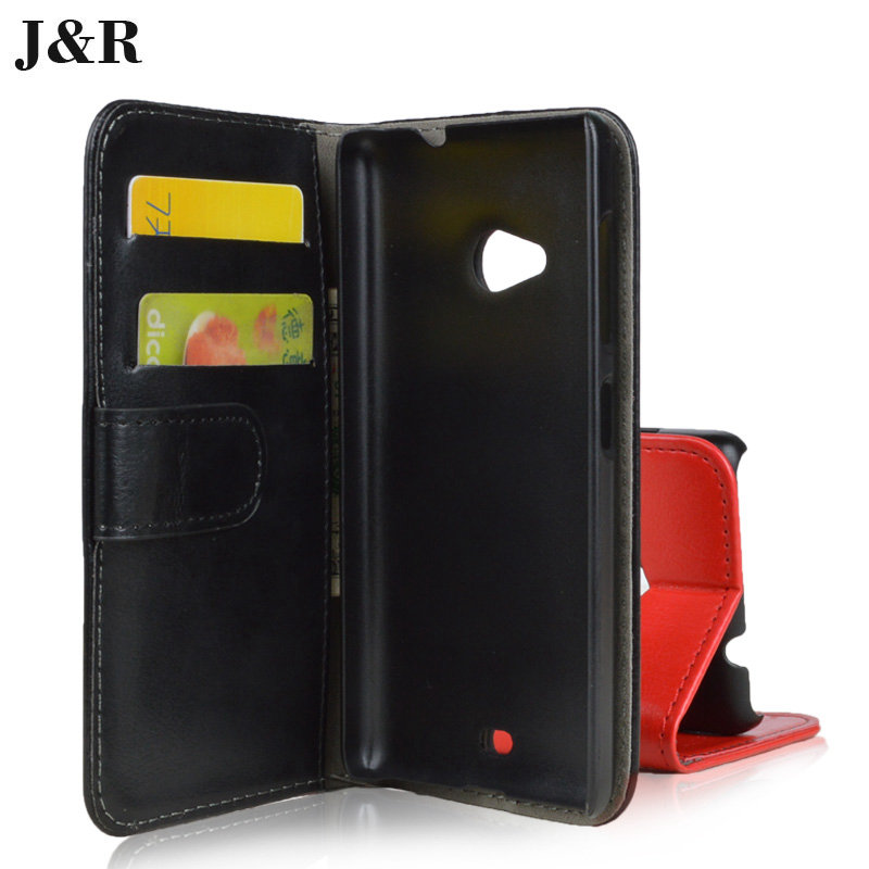 J&R Brand Nokia Lumia 535 Case Flip PU Leather Phone Bag Wallet Cover Stand Card Holder - Kemity Co., LTD store