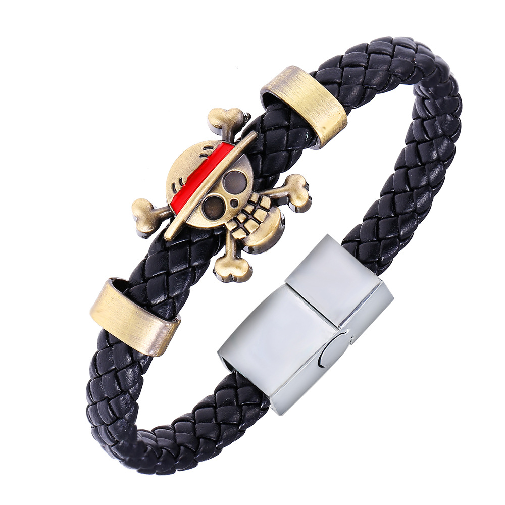 Hot Animation Luffy Alloy Bracelets One Piece Weave leather bracelet & Bangle cosplay jewelry drop shipping(China (Mainland))