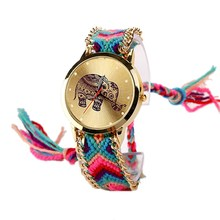 Hot Sell New Brand Handmade Braided Elephant Bracelet Watch Watches Women Quarzt Watches 6 Colors relogio feminino