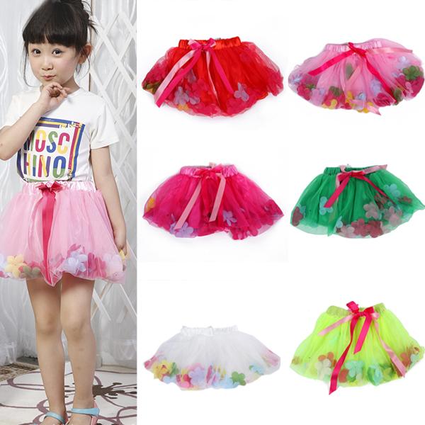 Baby Kids Girls Dance Party Cute Tutu Bow Pettiskirt Princess Skirt 2-7Y(China (Mainland))