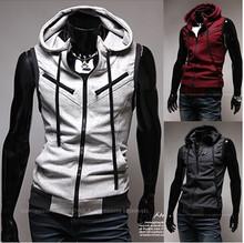 Free Shipping Men's Sleeveless Hoodies Vest Coatt Stylish Cotton Waistcoat Slim Knitting Vest !M-XXL(China (Mainland))