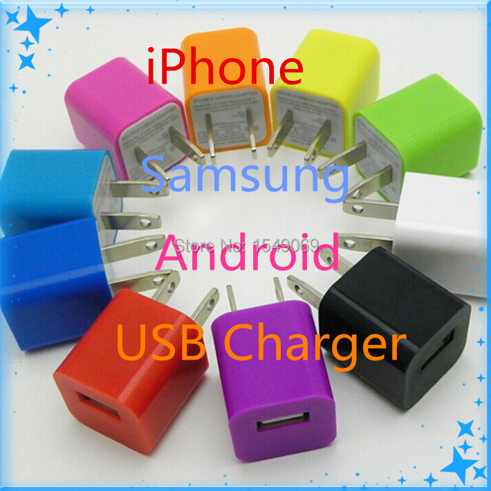 Universal USB Phone Charger Plug Power Adapter Colorful Charger Mobile Phone Chargers Android S.amsung i.Phone i.Pod Charger(China (Mainland))