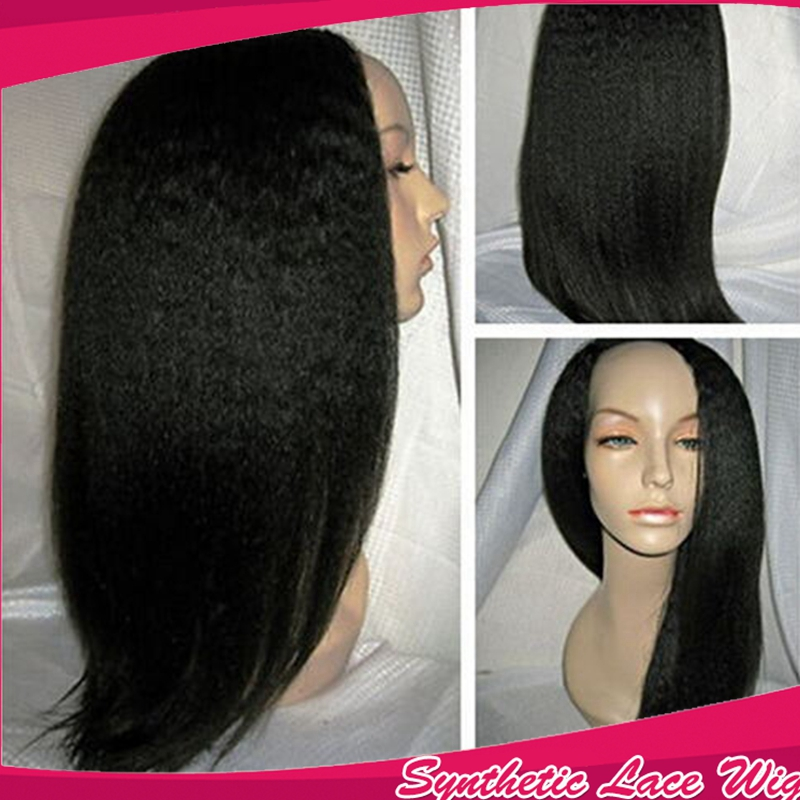 Fast shipping yaki Straight Synthetic Lace Front Wig 12-16inch Natural Yaki Heat Resistant Synthetic Hair Wigs For Black Women