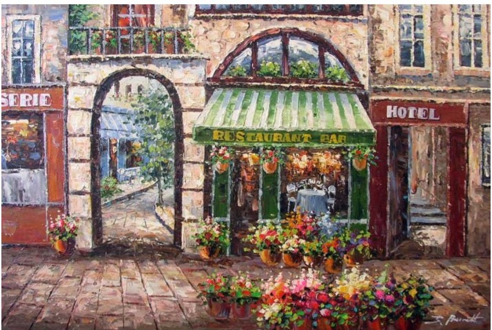 French Restaurant Parisian Bistro Cafe Art Oil Painting(China (Mainland))