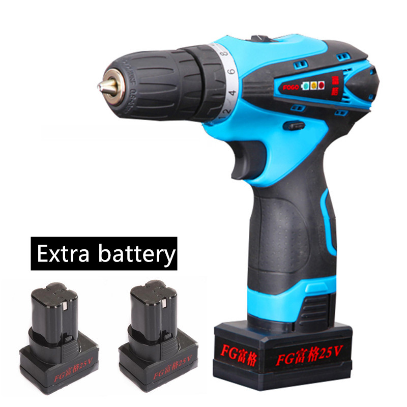 25V lithium battery*2 Household Charging Hand drill cordless electric Torque drill bit electric screwdriver driver power tools(China (Mainland))