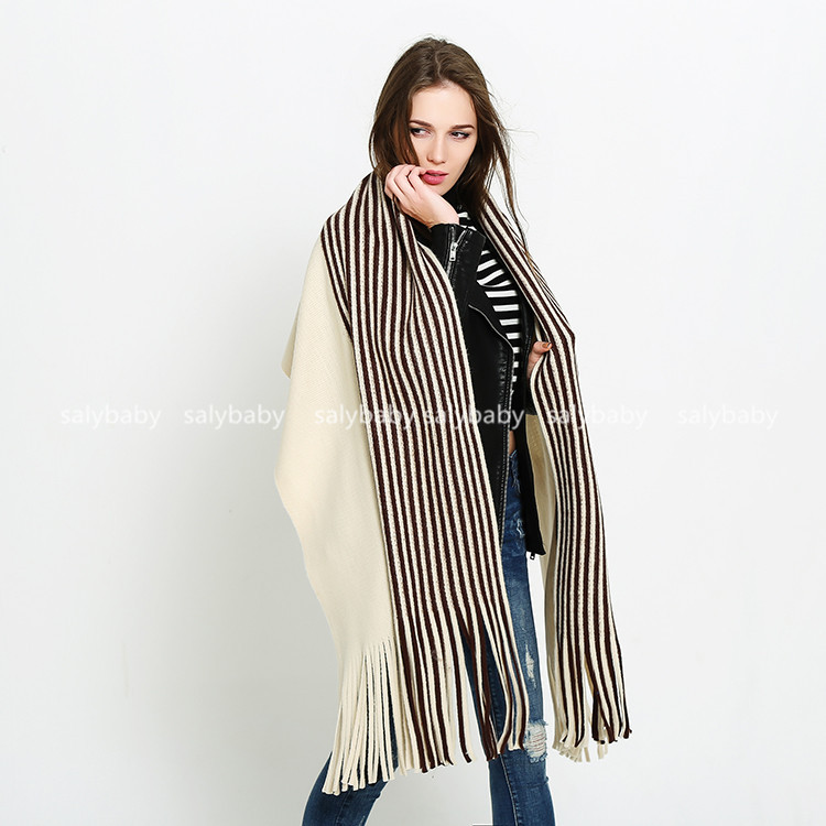 South Korea Autumn Cashmere Wool Winter Mosaic Scarf Shawl Knitted Fringed Warm Dual-purpose Female Stripes