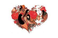 japan woman color japan heart 4′ Size Home Decoration Canvas Poster Print