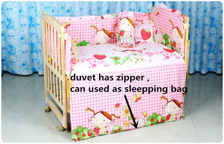 Фотография Promotion! 10PCS Baby Bedding Cradle Crib Netting Baby Bumper Set (bumpers+matress+pillow+duvet) 100*60/110*65cm