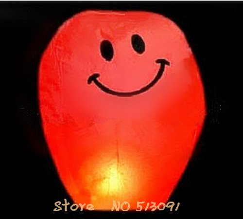 Free shipping 30ps/lot Red(Smiling face )Chinese Fire Sky Lanterns Wishing Balloon Birthday Christmas Wedding Party Lamp,XLH006(China (Mainland))
