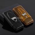 Hot Black Brown Crocodile Embossed Pattern Leather Cigar Case Holder 3 Tubes Travel Cigar Humdior w