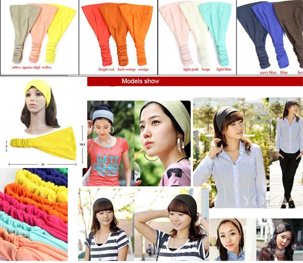 1PC Soft Wide Bandana Fabric Headband w/elastic, Hair Wrap Women's Yoga Headwrap! (26cm long, 18.5cm wide) - Jenny's Clothing store
