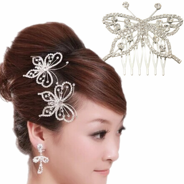 2015 Fashion Hair Jewelry Elegant Butterfly Crystal Rhinestone Pin Comb Clip Silver Wedding Bridal Headwear Accessories - Mei Te store