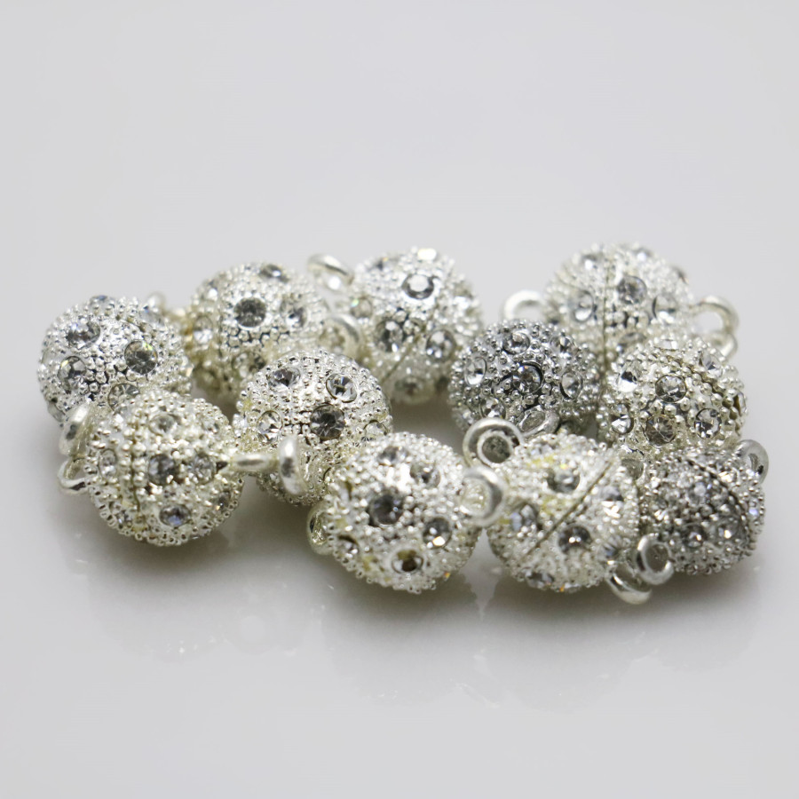 10PCS Rhinestone beads Snap Accessory buttons findings for snaps jewelry metal parts DIY Making Design magnetism for Necklace(China (Mainland))