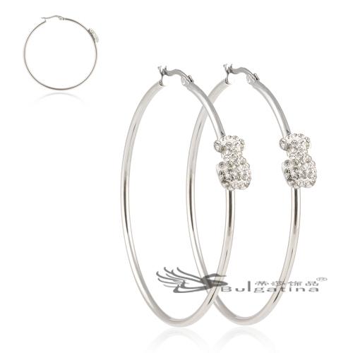 2014 New Platinum Plated Rhinestone Crystal Channel Round Big Hoop Earrings Bear Fashion Jewelry women - Disha Findings store