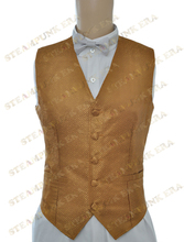 Halloween Costume Deluxe Golden Jacquard Single Breasted Victorian Steampunk Waistcoat