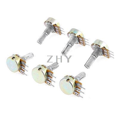 6 x Silver Tone Metal Electrical Rotary Split Shaft Potentiometer 100K Ohm(China (Mainland))