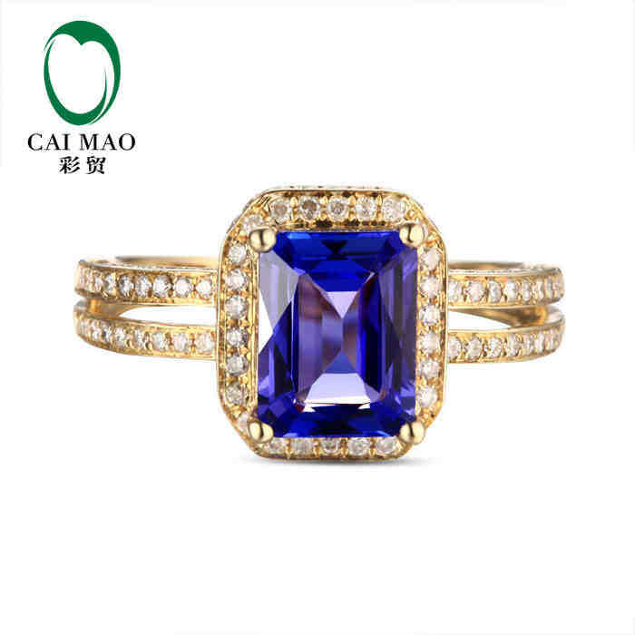 CaiMao 14KT/585 Yellow Gold 1.83 ct Natural IF Blue Tanzanite AAA 0.50 ct Full Cut Diamond Engagement Gemstone Ring Jewelry<br><br>Aliexpress