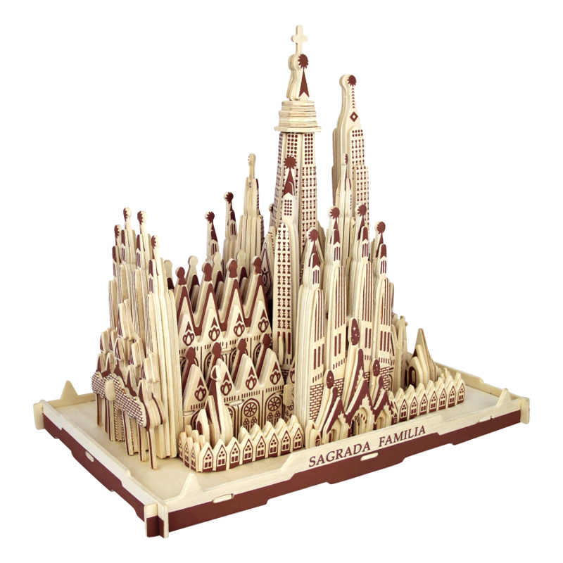 3d Wooden Puzzle Children's And Adult Model The Sagrada Familia A Kids Toy Of The Famous Building Series A Best Gift For Kids(China (Mainland))