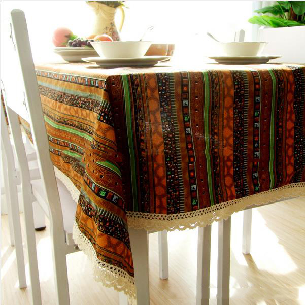 Ethnic style quality cotton & linen lacework dining tablecloth multi functional table cloth for party picnic outdoor use WXT440(China (Mainland))