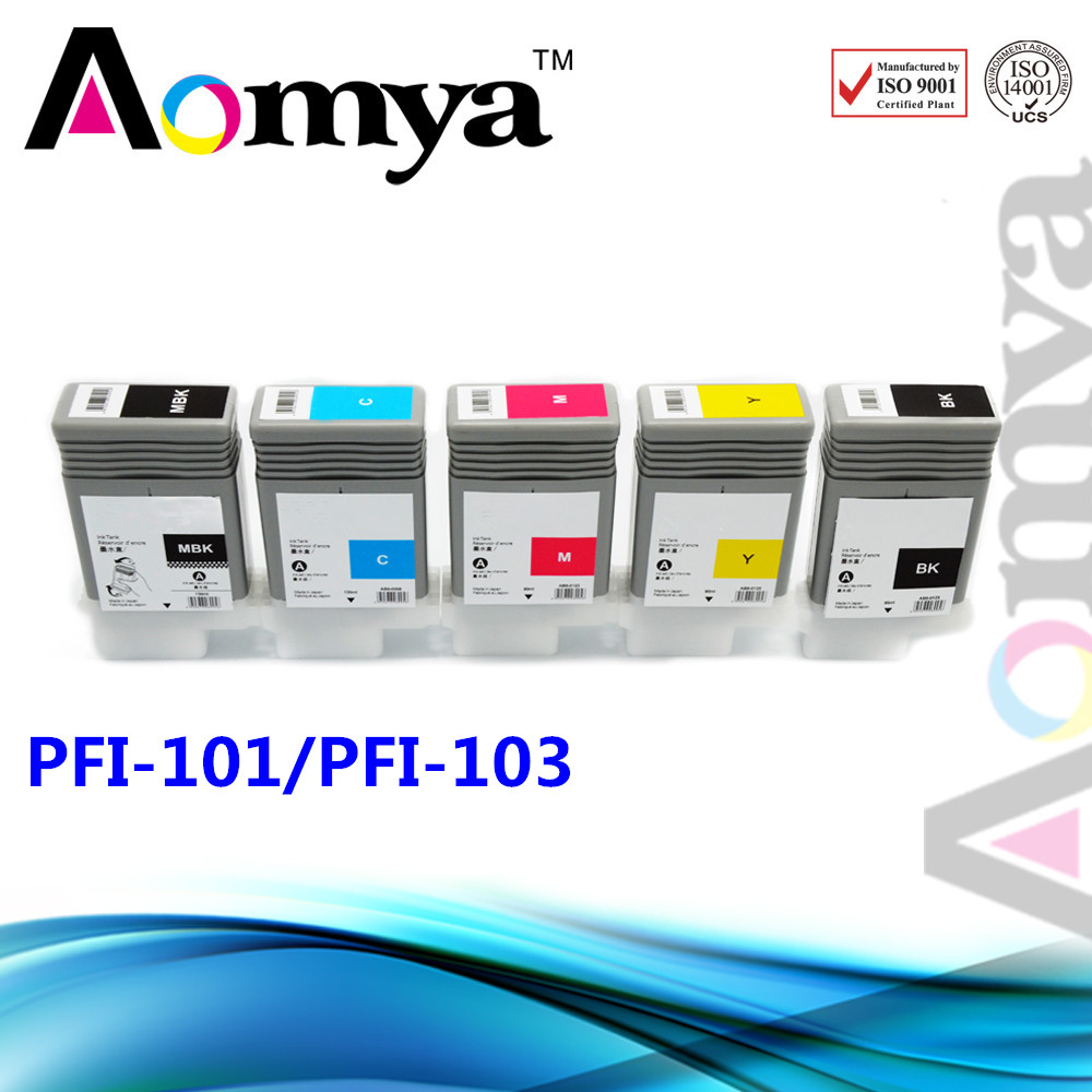 [DYE INK] PFI-101(C/M/Y/PM/PC/R/G/B)+PFI-103(MBK/BK/GY/PGY) Compatible Wide format cartridge Used for Canon Printer iPF6100(China (Mainland))