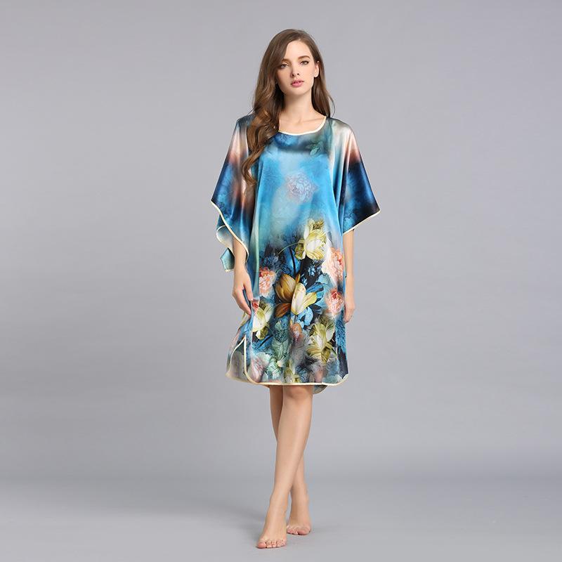 Heavy Silk Nightgown Female Fashion Printed Nightdress Women Round Neck Large Loose Bat Princess Sleepwear Plus Big Size S6011(China (Mainland))