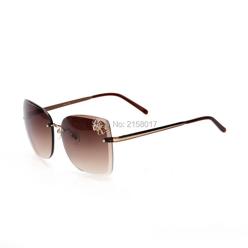 Фотография Elegant 4217 Oculos De Sol Feminino Sunglasses Women Butterfly Style Gafas Rimless Frame Sunglasses Women With Original Box