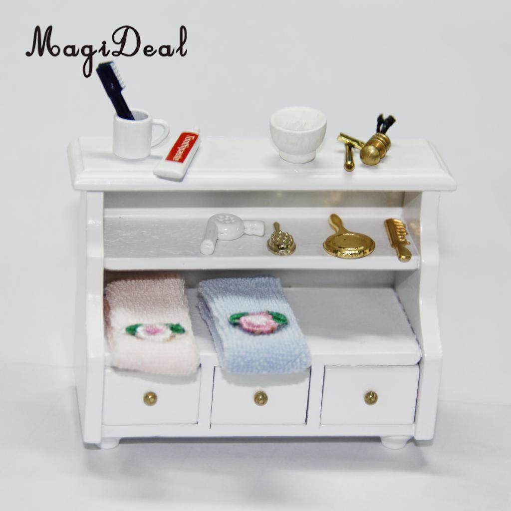 1//12 Dollhouse Miniature Bathroom Accessory Comb Hair Dryer Mirror 4pcs Set Gift
