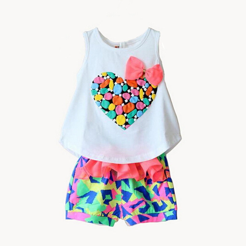 2015 Summer Style Summer Girls Clothing Sets Kids Clothes Kids Love Heart Print With Bow Tank Vest Shorts Clothes Set(China (Mainland))