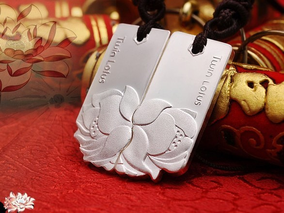 Lover gift ~Stalk lottos bullier 999 pure silver lovers baiyin 999 fine silver pure silver necklace