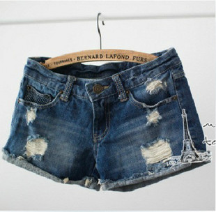 2015 fashion match distrressed hole cuffs women's girls' leisure denim jeans shorts, - Chic Classic Store store