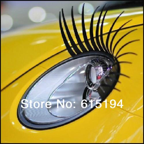 10pair/lot 3D Eyelash Car Eye Lashes Car Logo Sticker 3D Automotive Eyelashes Auto Lights Lashes Accessories Free Shipping(China (Mainland))