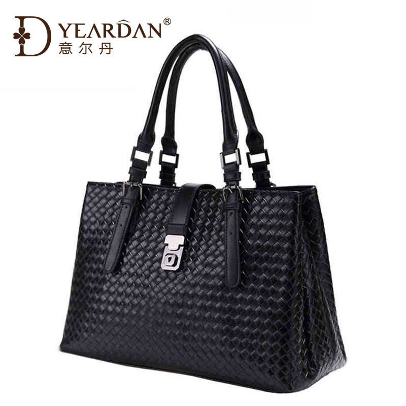 The new spring and summer Yier Dan lady bag leather leather handbags Black Damask luxury shoulder hand woven bags(China (Mainland))