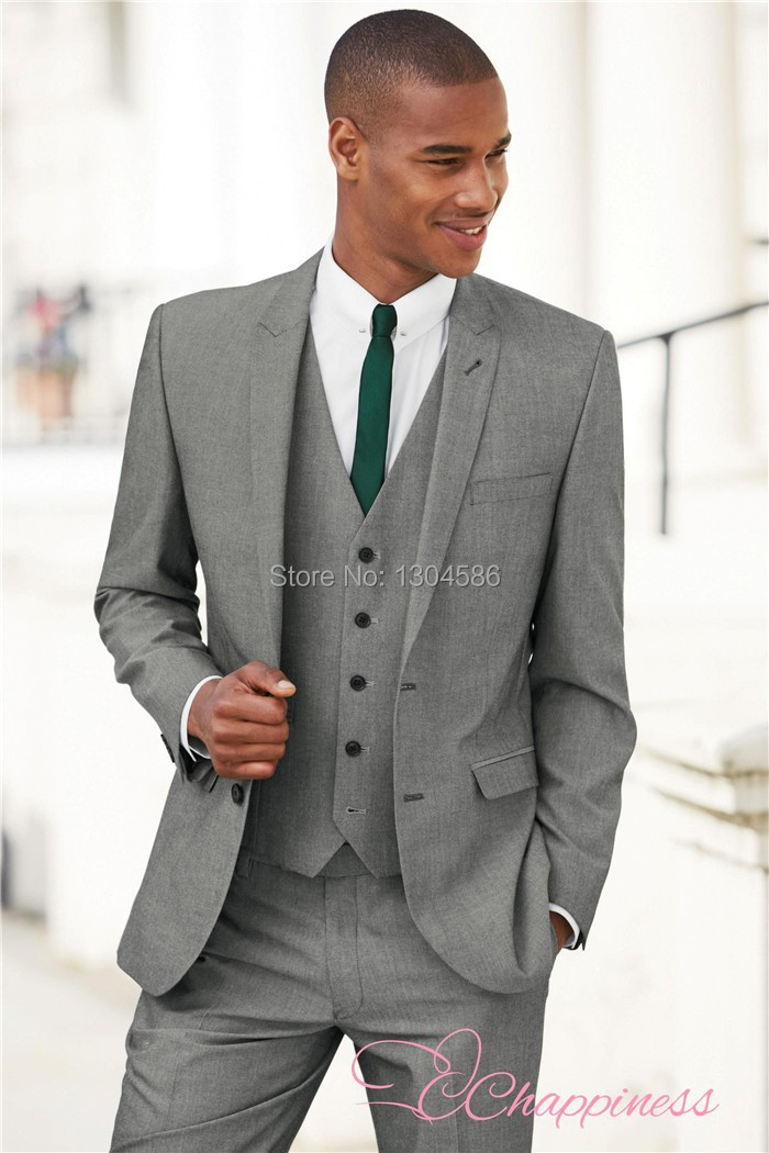 new arrive custom made men suit 3 pieces mens light grey