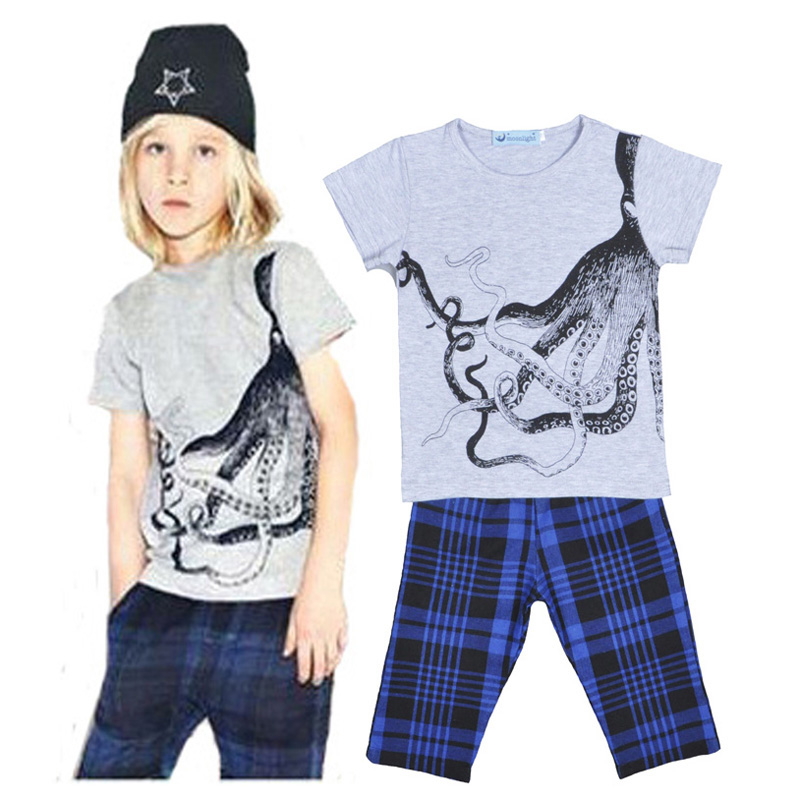 Boy clothing set boy Leisure set Cartoon octopus printing Short Sleeve shirt Tops+ Plaid Pants animal kids clothes set 5pcs/set<br><br>Aliexpress