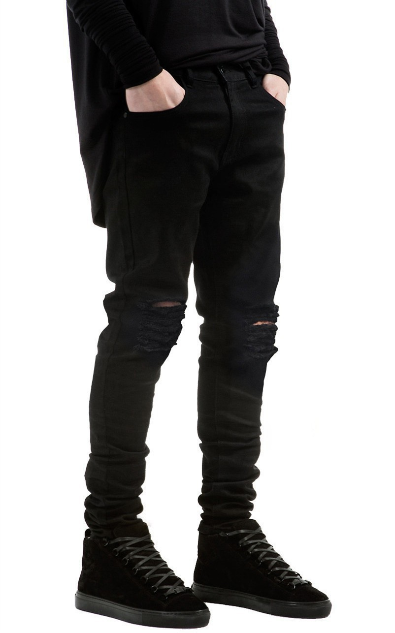 Popular Black Ripped Jeans for Men Skinny Fit-Buy Cheap Black