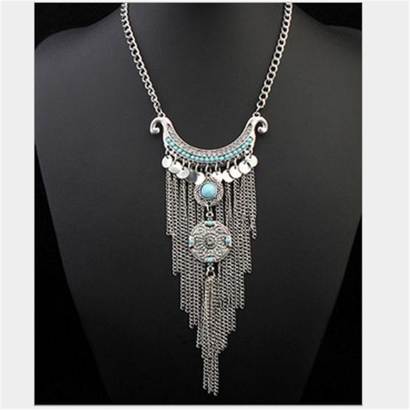 2015 High Quality Bohemian Vintage Necklace Antique Silver Turquoise Jewelry Long Tassel Necklace Statement Necklace For Women(China (Mainland))