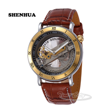 2016 SHENHUA Men's Automatic Mechanical Wrist watches Tourbillon Skeleton Hollow Self Wind Luxury Waterproof Leather Strap Clock